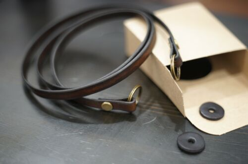 Vintage style WALNUT/BROWN leather camera strap 40in ..FILM or MIRRORLESS