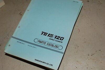 Takeuchi Tb15 Tb120 Excavator Parts Manual Book Catalog Spare Crawler Trackhoe