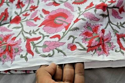 Block Print Fabric (Indian 2.5 Yard New Hand Block Print White floral Cotton Craft Sewing Fabric )
