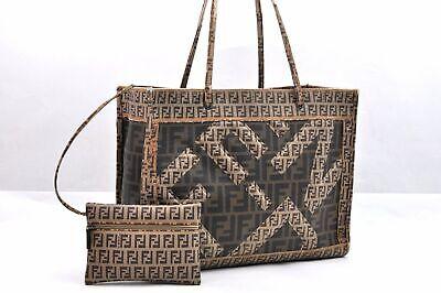 Authentic FENDI Zucca Zucchino Tote Bag PVC Brown 96337
