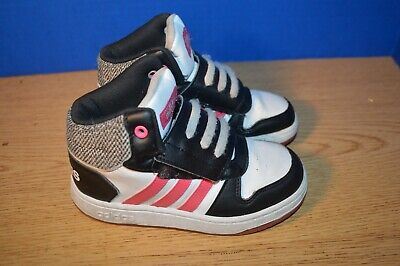 CHILDS GIRLS ADIDAS WHITE PINK BLACK  SHOES SIZE 10K  MED EXCELLENT