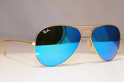 RAY-BAN Mens Unisex Mirror Sunglasses Blue Gold Aviator RB 3025 112/17 23918