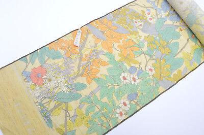 UN-USED SILK/WOOL BLEND KIMONO BOLT:Colourful Chrysanthemum / Camellia@YI64
