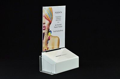 Comment Suggestion Box with Poster Holder + Leaflet Holder - PDS9474 WhiteLH A4P