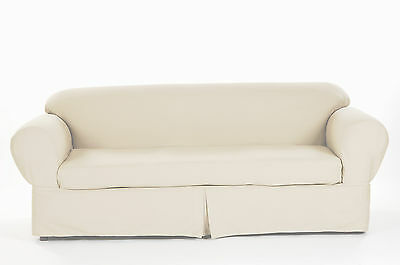 Cotton Loveseat - All Cotton Twill 2-piece Round arm Loveseat Slipcover Cover Solid Natural