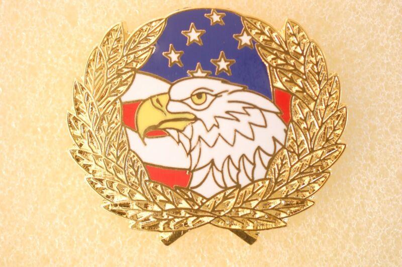 US USA American Flag Eagle Wreath Patriotic Hat Lapel Pin