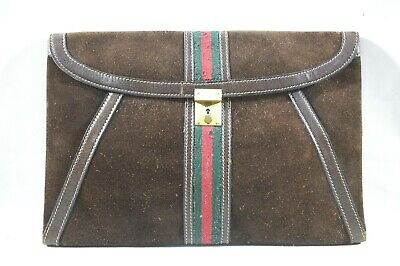 GUCCI Vintage Leather Web Stripe Clutch