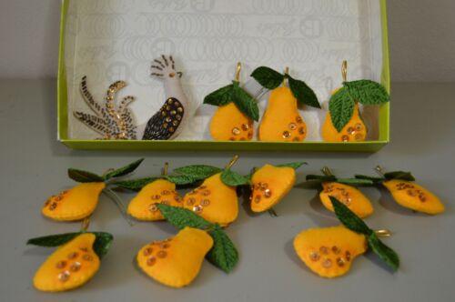 Vintage Partridge in a Pear Tree Handmade Christmas Ornaments Set Vintage Box