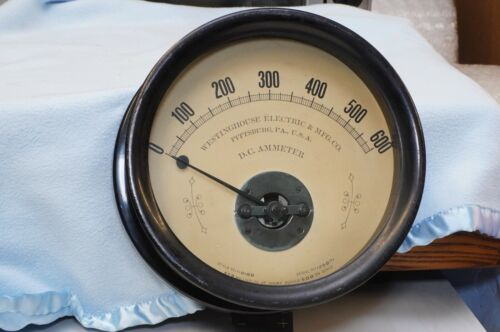 """ANTIQUE STEAMPUNK WESTINGHOUSE 9"""" WALL MOUNT  METER AMMETER"""