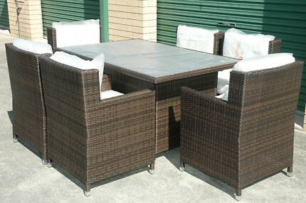 WICKER DINING SETTING 7 Piece Outdoor BBQ Rattan Furnitu Bangalow Byron Area Preview
