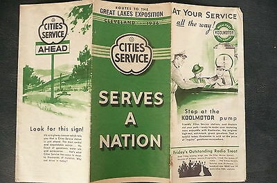 1936 Cleveland Great Lakes Exposition  map Cities Service  gas oil Ohio road