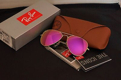 New Ray Ban Aviator RB3025 112/4T Matte Gold frame/Cyclamen Hot Pink (Mirrored Aviator Ray Bans)
