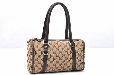 Authentic GUCCI Hand Bag GG Canvas Leather Brown 96320