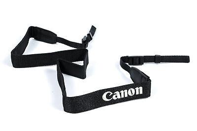 "Neck Strap .75"" Wide Black Fiber, Silver Stitched ""Canon Powershot"" LN"