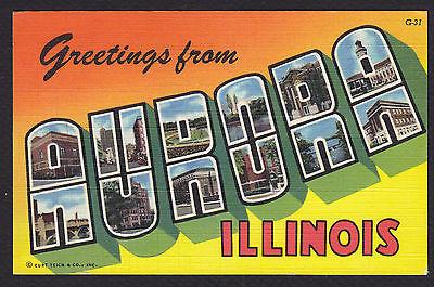 Aurora Illinois (Aurora-Illinois-Large Letter Greeting-Linen-Vintage Postcard)
