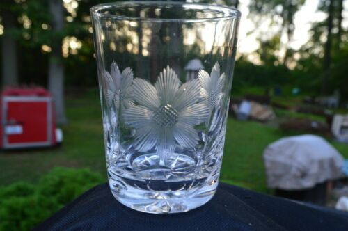 """Vintage 4"""" Flower Etched Glass Tumbler or Drinking Glass, Set of 6 - Dainty"""