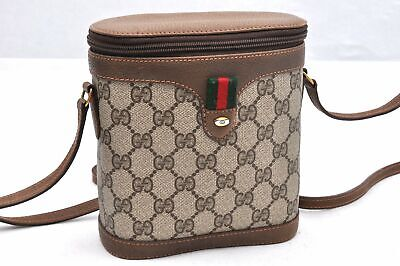 Authentic GUCCI Sherry Line Shoulder Bag GG PVC Leather Brown 96092
