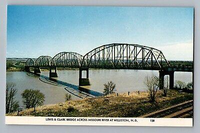 Williston North Dakota ND Lewis & Clark Bridge Missouri River Postcard 1950s