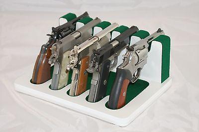 Pistol 5 Gun Rack Stand 502 White Green Cabinet Safe