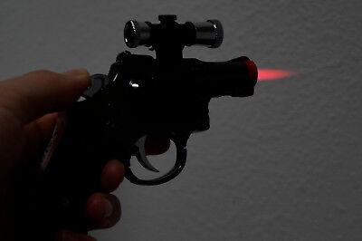 2 PACK 357 Magnum Gun Revolver Shaped Jet Torch Lighter with USA Legal Red Laser