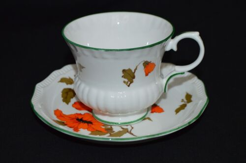 Crown Staffordshire Fine Bone China Footed Tea Cup and Saucer Camelot England