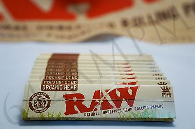 5 PACKS OF AUTHENTIC RAW NATURAL ROLLING PAPER ORGANIC HEMP KING SIZE SLIM