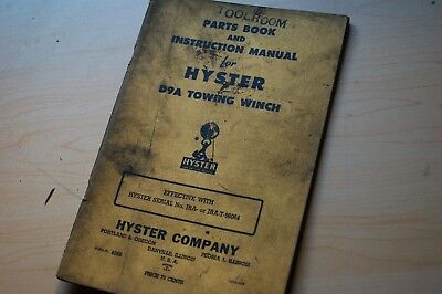 Cat D9a Caterpillar Tractor Hyster Towing Winch Owner Service Shop Parts Manual