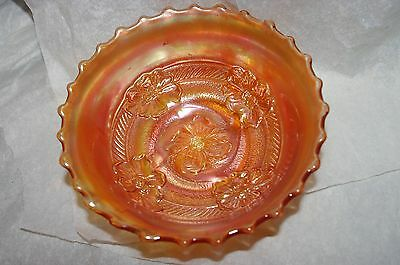 Marigold Carnival Glass Dogwood Motif Round Accent Bowl BEAUTIFUL CONDITION