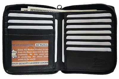 AG Wallets MENS Zip Around Hipster Wallet Euro Black Genuine Leather Card (Hipster Mens Wallet)