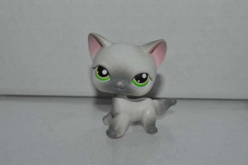 Littlest Pet Shop~#125~Siamese~Cat Kitty~White Gray~Green Dot Eyes~Red Magnet