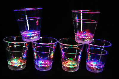 Led Shot Glasses (Set of 6 Light Up MultiColor LED Shot Glasses- Fast USA)