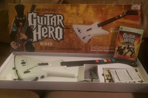 Xbox 360 Guitar Hero Red Octane Wired X-plorer Guitar W/ Box, Plus GH World Tour - $85.00