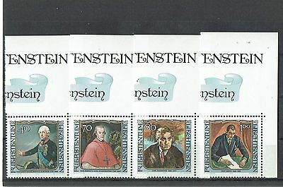 """schöner Eckrandsatz Liechtenstein """" Berühmte Gäste """" Mich. Nr. 839/42**"""