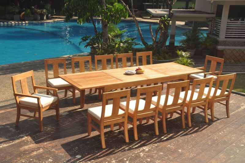 "13-piece Outdoor Teak Dining Set: 122"" Rectangle Extension Table, 12 Chairs Osbo"