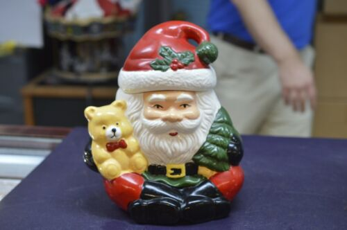 "SANTA CLAUS WITH TEDDY BEAR CHRISTMAS CERAMIC 10"" COOKIE JAR"