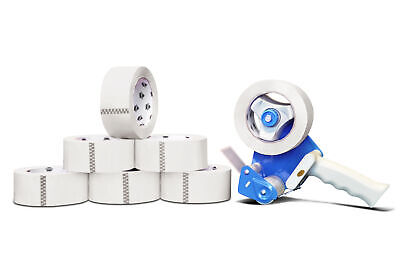 Free 2 Tape Gun Dispenser With 6 Rolls 2x55 White Colored Packing 2 Mil Tape