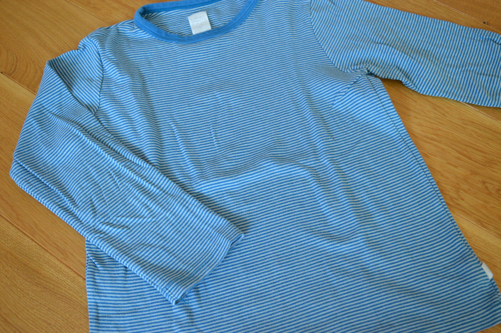 Living crafts Schlafanzug Oberteil 100% kbA Biobaumwolle Öko blau Gr.134 140