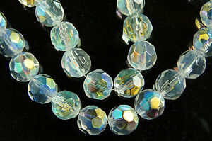 ROUND ~FACETED~TRANSPARENT~GLASS BEADS~CHOOSE COLOR ~ OR ~ SIZE
