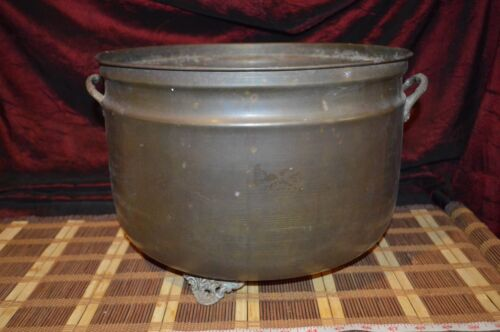 """Huge Solid Brass Footed Planter Pot Bowl with Decorative Handles 15 1/2""""x9 7/8""""x"""