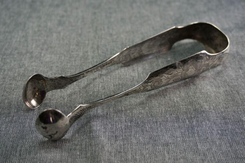 Coin Silver Sugar Tongs W. EDEN Circa 1825 PHILADELPHIA - ETCHED - Monogram