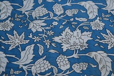 2.5 Yard Indian Hand Block Print Bohemian Fabric Quilting Fabric Floral Blue New