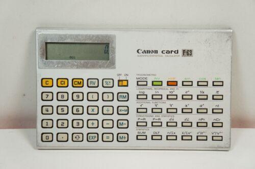 Canon Card F-63 Scientific Statistical Calculator Rare