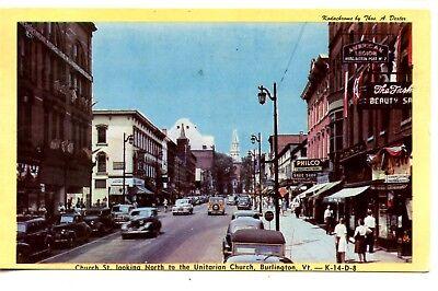 Church Street Scene-Downtown-Old Cars-Burlington-Vermont-Vintage 1947 Postcard (Church Street Burlington)