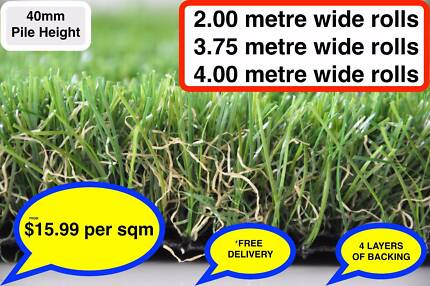 Synthetic Artificial Fake Grass Turf Lawn-40mm-EXTRA HEAVY DUTY