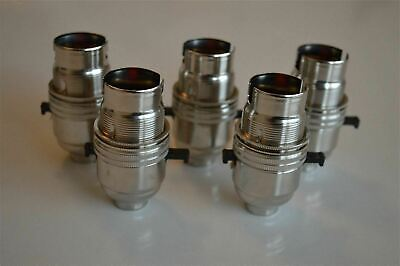 5 X SWITCHED NICKEL LIGHT FITTING LAMP BULB HOLDER SWITCH HOLDER 1/2 INCH NR8
