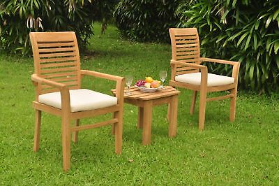 3pc Grade-A Teak Dining Set Adirondack Side Table 2 Mas Stacking Arm Chair Patio 2 Adirondack Dining Chairs