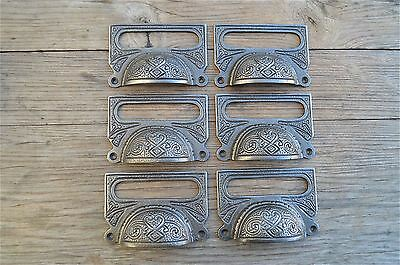 A SET OF 6 LARGE EDWARDIAN CAST IRON LABEL FRAME HANDLE FILING DRAWER PULL CB10