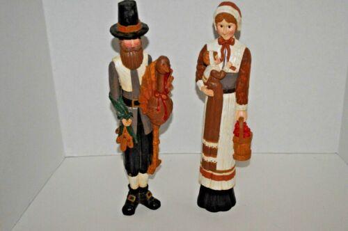 "Thanksgiving Pilgrim Family Couple w/ Baby 12"" Resin Figurine Set"