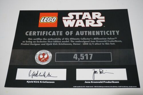 LEGO STAR WARS UCS 10179 MILLENNIUM FALCON 1ST ED. CERTIFICATE OF AUTHENTICITY