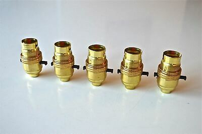 5 SWITCHED BRASS BAYONET FITTING LAMP BULB HOLDER EARTHED C/W SHADE RING 10MM L9
